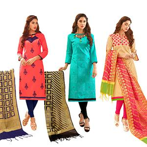 Unique Partywear Embroidered Cotton Suit With Pure Banarasi Silk Dupatta - Pack of 3