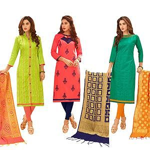 Diving Partywear Embroidered Cotton Suit With Pure Banarasi Silk Dupatta - Pack of 3