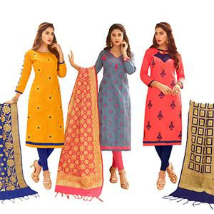 Pleasance Partywear Embroidered Cotton Suit With Pure Banarasi Silk Dupatta - Pack of 3