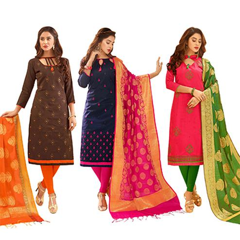 Engrossing Partywear Embroidered Cotton Suit With Pure Banarasi Silk Dupatta - Pack of 3
