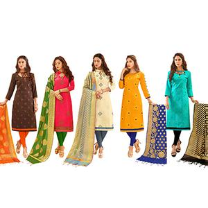 Eye-Catching Partywear Embroidered Cotton Suit With Pure Banarasi Silk Dupatta - Pack of 5