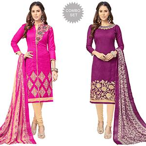 Smart Partywear Embroidered Chanderi Silk Suit - Pack of 2