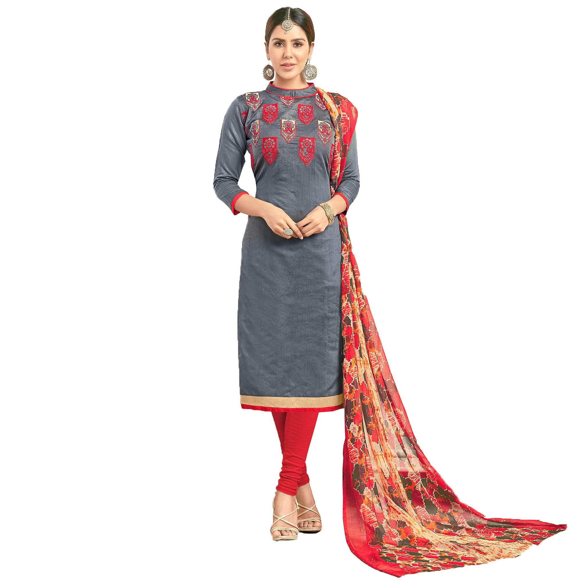 Stylish Partywear Embroidered Chanderi Silk Suit - Pack of 2