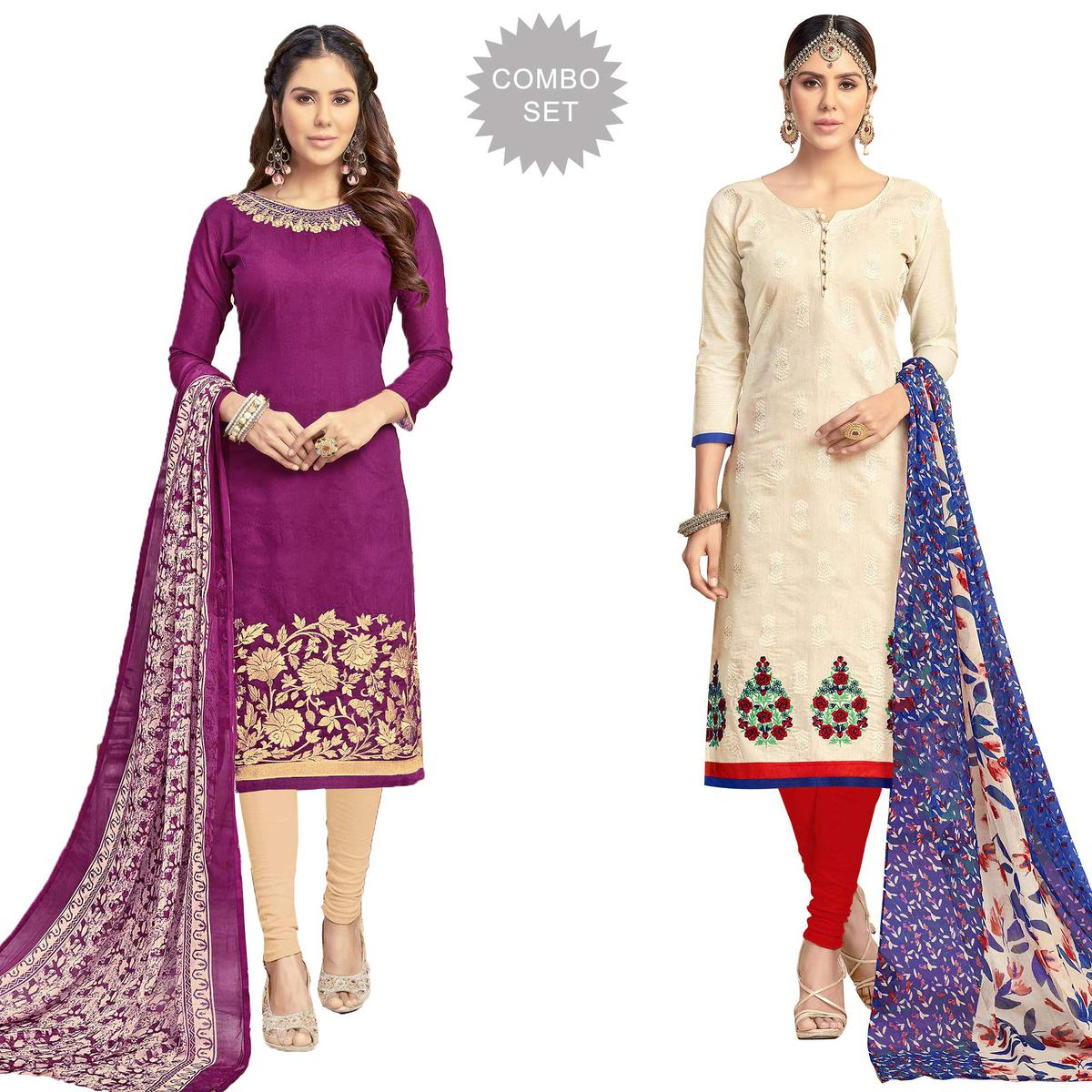 Blooming Partywear Embroidered Chanderi Silk Suit - Pack of 2