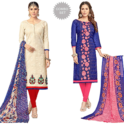 Demanding Partywear Embroidered Chanderi Silk Suit - Pack of 2
