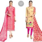 Dazzling Partywear Embroidered Chanderi Silk Suit - Pack of 2