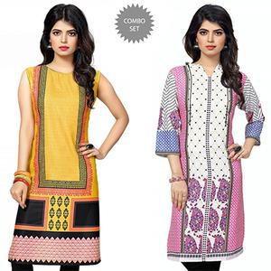 Extravagant Yellow And White Casual Wear Printed Kurti - Pack of 2
