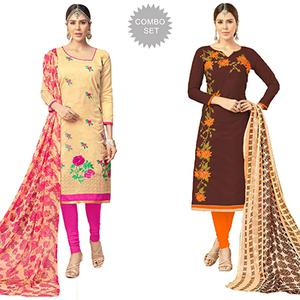 Majestic Partywear Embroidered Chanderi Silk Suit - Pack of 2