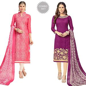 Refreshing Partywear Embroidered Chanderi Silk Suit - Pack of 2