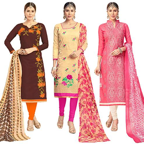 Flaunt Partywear Embroidered Chanderi Silk Suit - Pack of 3