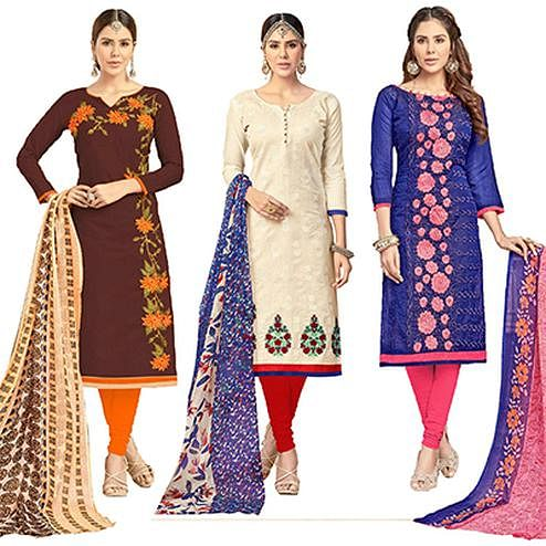 Pretty Partywear Embroidered Chanderi Silk Suit - Pack of 3