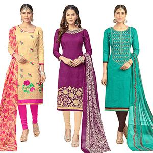 Deserving Partywear Embroidered Chanderi Silk Suit - Pack of 3