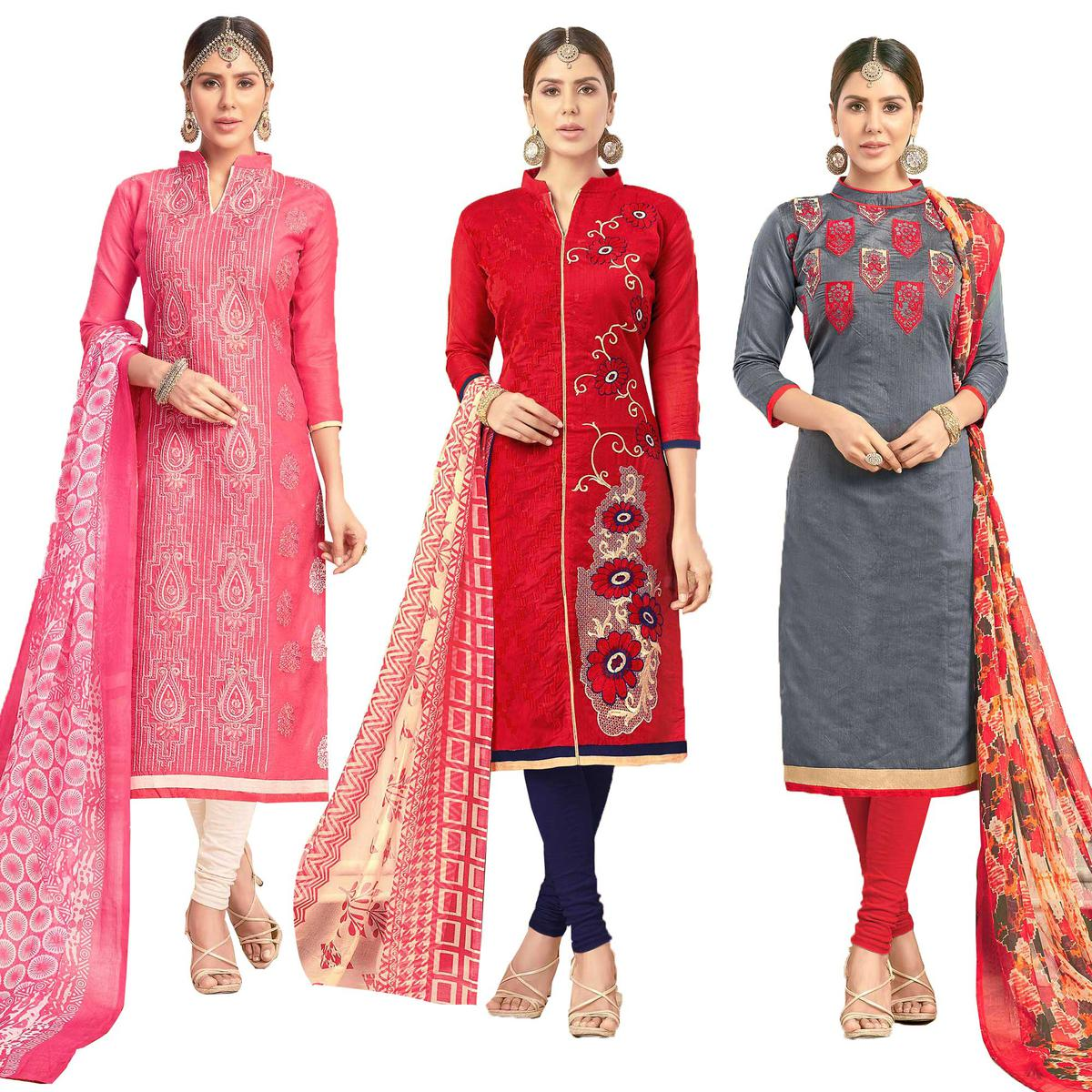 Adorning Partywear Embroidered Chanderi Silk Suit - Pack of 3
