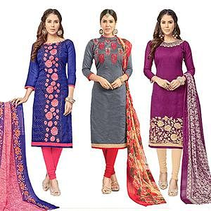 Impressive Partywear Embroidered Chanderi Silk Suit - Pack of 3