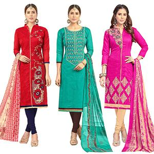 Energetic Partywear Embroidered Chanderi Silk Suit - Pack of 3