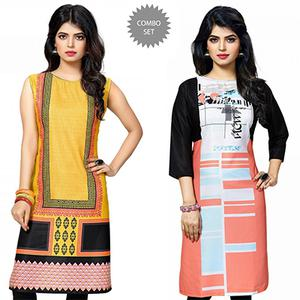 Charming Yellow And Multi Casual Wear Printed Kurti - Pack of 2