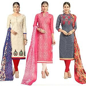 Arresting Partywear Embroidered Chanderi Silk Suit - Pack of 3