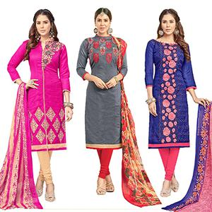 Flawless Partywear Embroidered Chanderi Silk Suit - Pack of 3