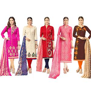 Staring Partywear Embroidered Chanderi Silk Suit - Pack of 5
