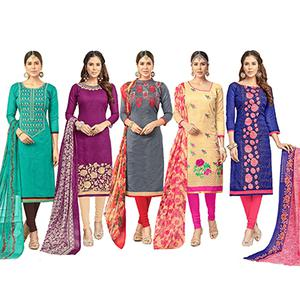 Flattering Partywear Embroidered Chanderi Silk Suit - Pack of 5