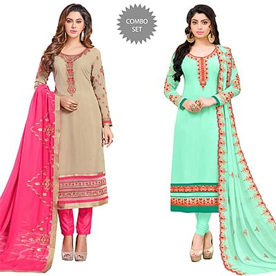 Impressive Colored Partywear Embroidered Georgette Suit - Pack of 2