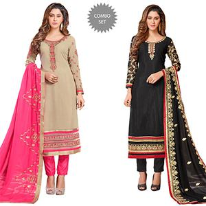 Attractive Colored Partywear Embroidered Georgette Suit - Pack of 2