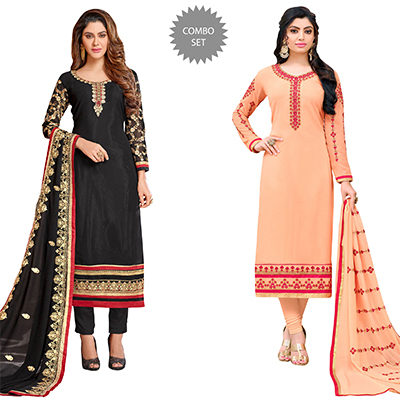 Beautiful Colored Partywear Embroidered Georgette Suit - Pack of 2