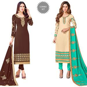 Mesmerising Colored Partywear Embroidered Georgette Suit - Pack of 2