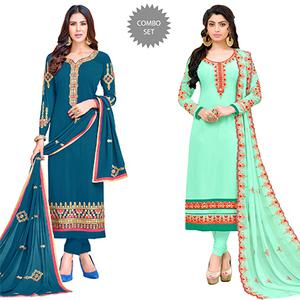 Demanding Colored Partywear Embroidered Georgette Suit - Pack of 2