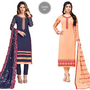Desiring Colored Partywear Embroidered Georgette Suit - Pack of 2