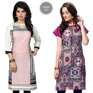 Zesty Pink And Multi Casual Wear Printed Kurti - Pack of 2