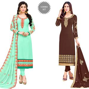 Arresting Colored Partywear Embroidered Georgette Suit - Pack of 2