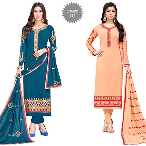 Flaunt Colored Partywear Embroidered Georgette Suit - Pack of 2