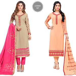Dazzling Colored Partywear Embroidered Georgette Suit - Pack of 2