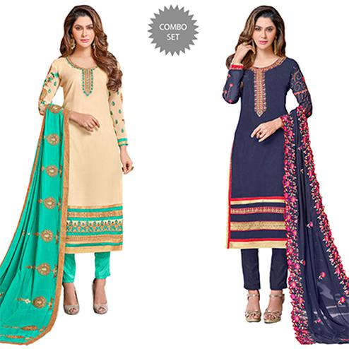 Eye-Catching Colored Partywear Embroidered Georgette Suit - Pack of 2