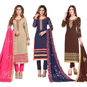 Engrossing Colored Partywear Embroidered Georgette Suit - Pack of 3