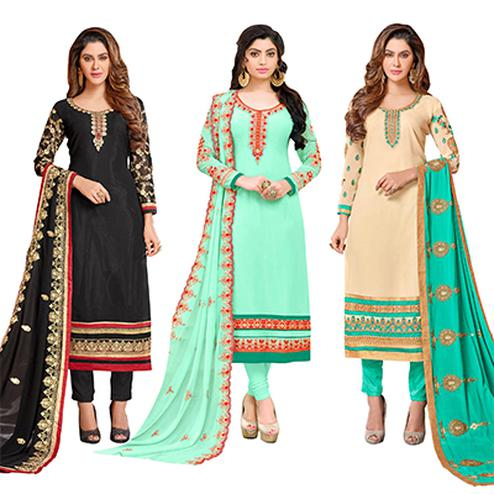 Mesmeric Colored Partywear Embroidered Georgette Suit - Pack of 3