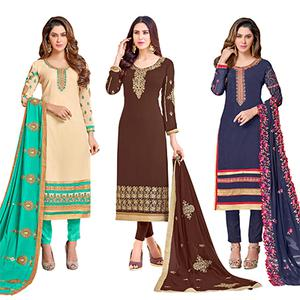 Dashing Colored Partywear Embroidered Georgette Suit - Pack of 3