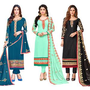 Stylish Colored Partywear Embroidered Georgette Suit - Pack of 3