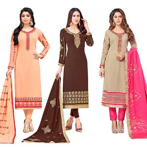 Classy Colored Partywear Embroidered Georgette Suit - Pack of 3