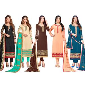 Gorgeous Colored Partywear Embroidered Georgette Suit - Pack of 5