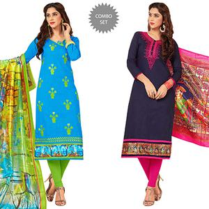 Impressive Partywear Embroidered Cotton Suit - Pack of 2