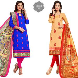 Eye-Catching Partywear Embroidered Cotton Suit - Pack of 2