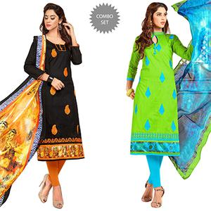 Mesmeric Partywear Embroidered Cotton Suit - Pack of 2