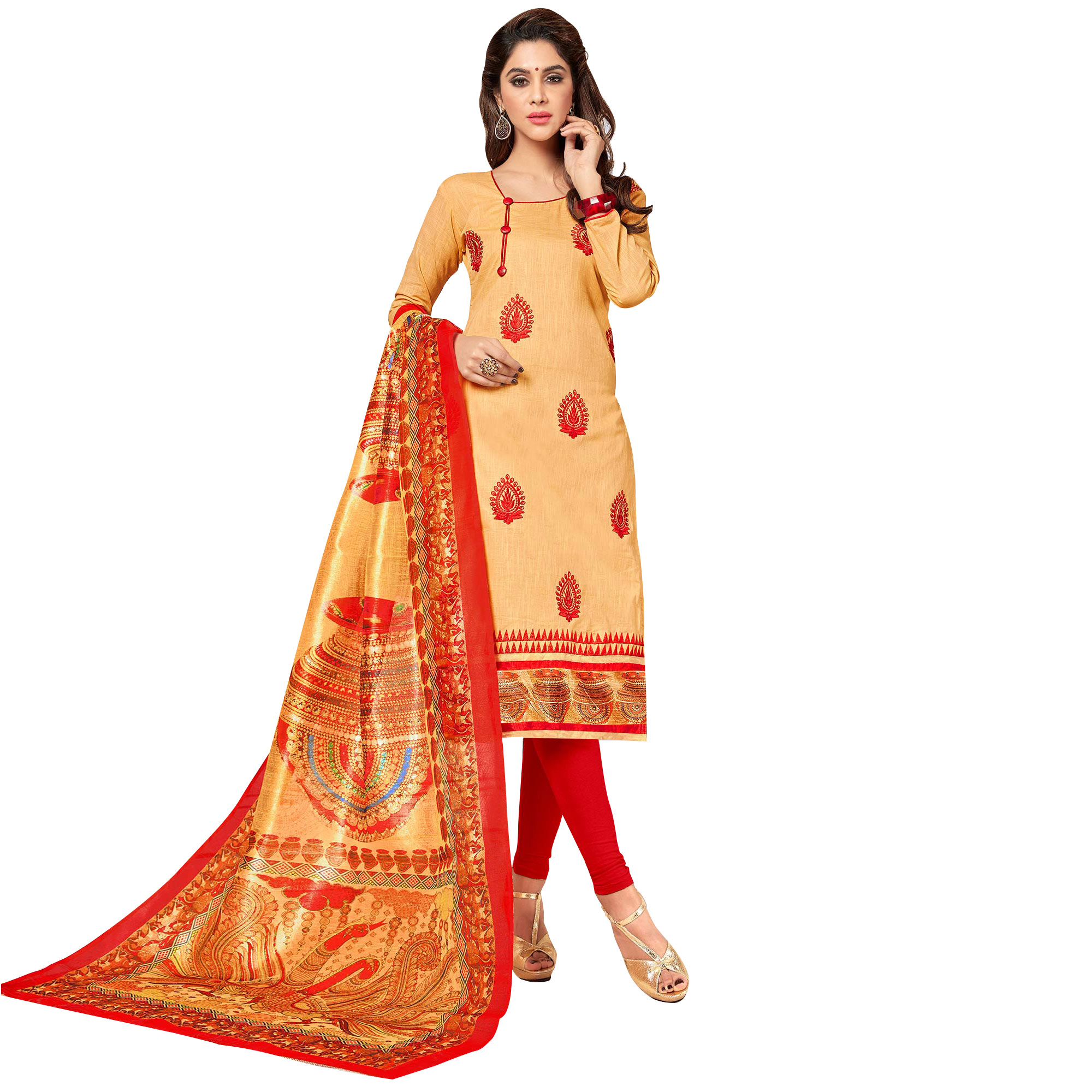 Mesmerising Partywear Embroidered Cotton Suit - Pack of 2