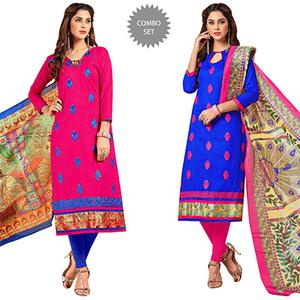 Glowing Partywear Embroidered Cotton Suit - Pack of 2