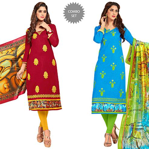 Gorgeous Partywear Embroidered Cotton Suit - Pack of 2