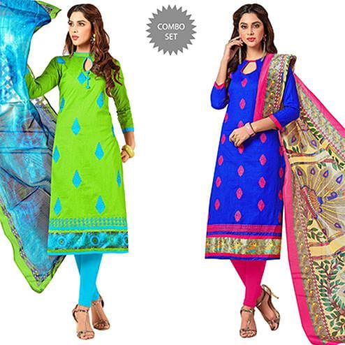 Dressing Partywear Embroidered Cotton Suit - Pack of 2