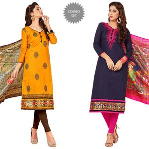 Energetic Partywear Embroidered Cotton Suit - Pack of 2