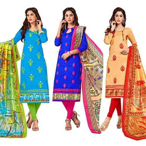 Flaunt Partywear Embroidered Cotton Suit - Pack of 3